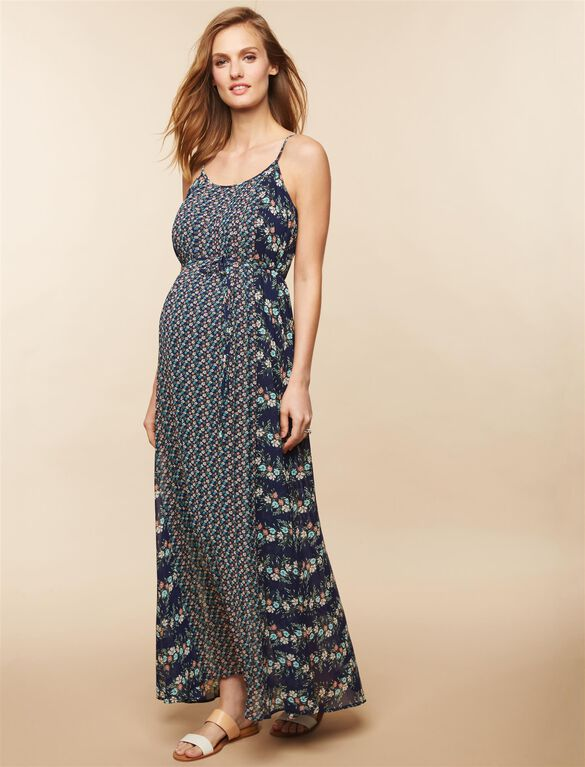 Pleated Printed Maternity Maxi Dress, Blue Floral
