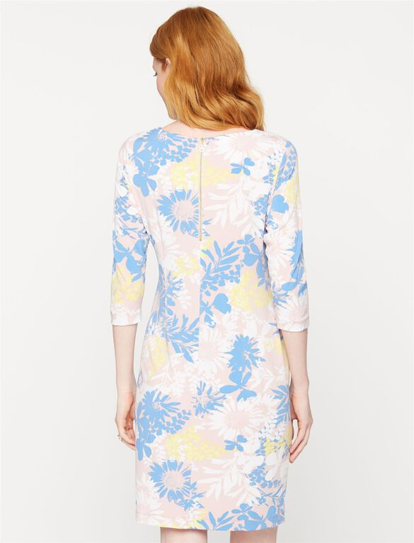 Taylor Boat Neck Maternity Shift Dress- Pastel Floral, Floral Print