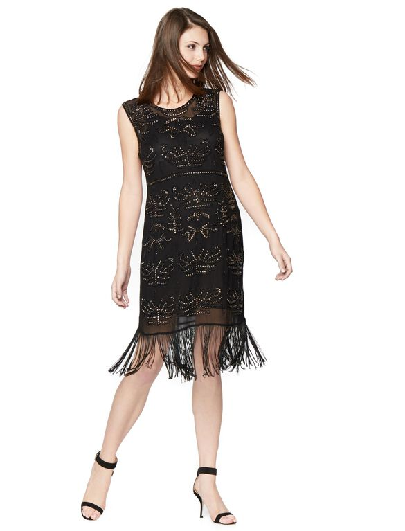 Fringe Hem Maternity Dress, Black