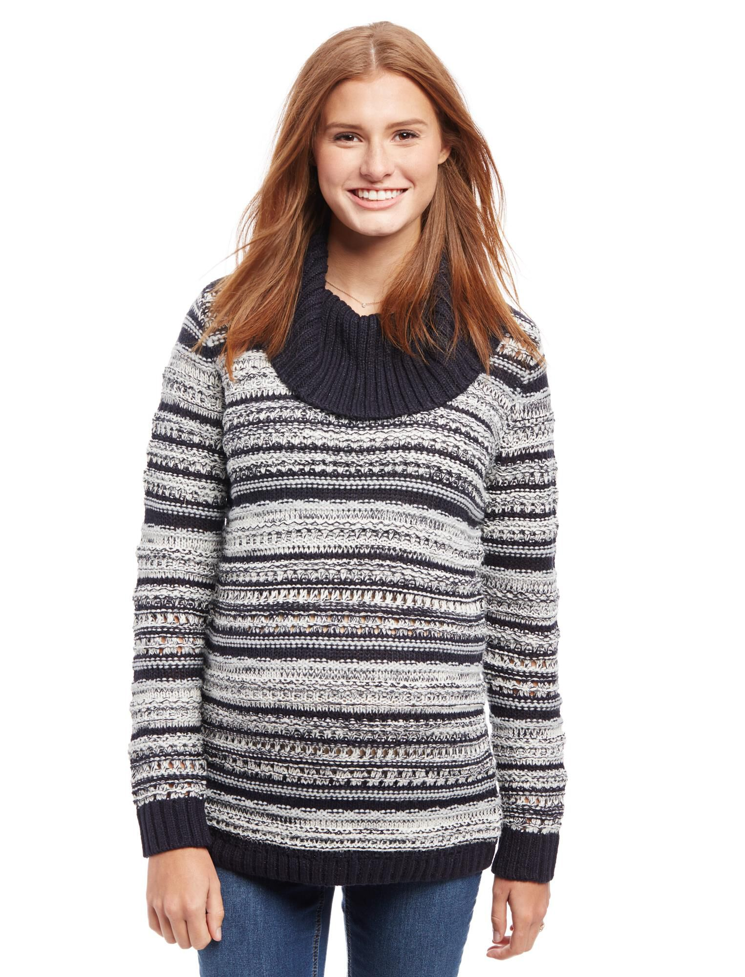 Striped Cable Knit Maternity Sweater