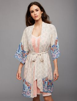 Tie Front Maternity Robe, Border Print