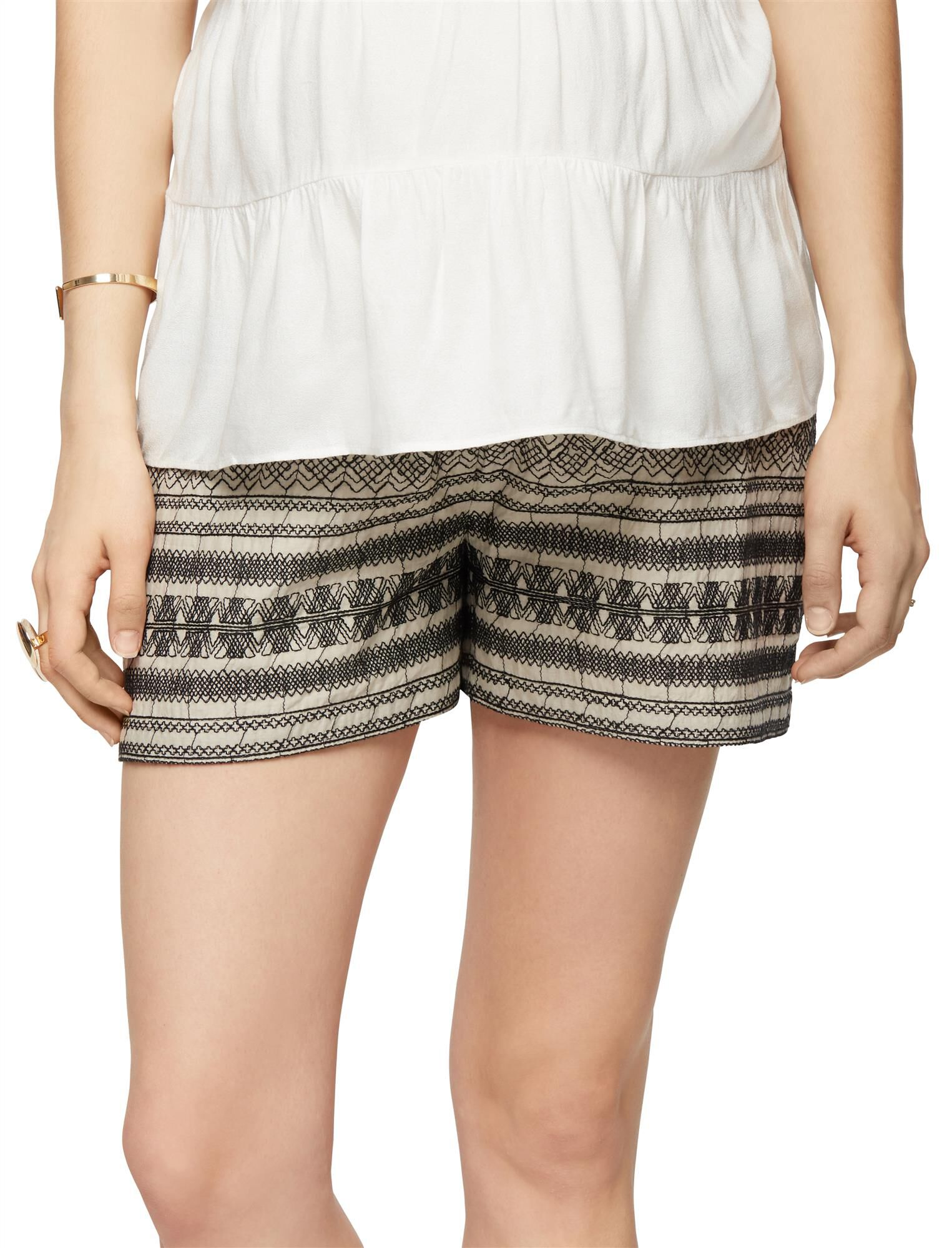 Secret Fit Belly Embroidered Maternity Shorts