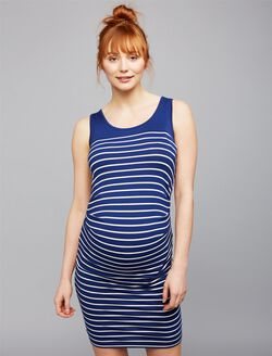 Seraphine Side Ruched Maternity Dress, Blue Stripe