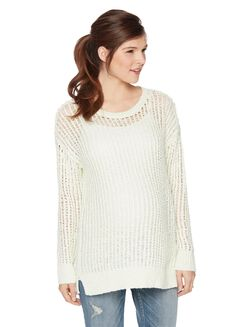 Loose Knit Maternity Sweater, Mint Solid