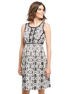 Lace Fit and Flare Maternity Dress, Black And White