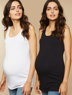 Bumpstart Scoop Neck Maternity Tank Top (2 Pack)- Solid, Black And White