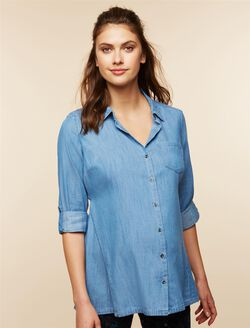 High-low Hem Maternity Tunic, Chambray