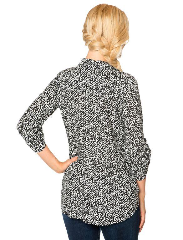 Ella Moss Tie Front Maternity Top, Black Print