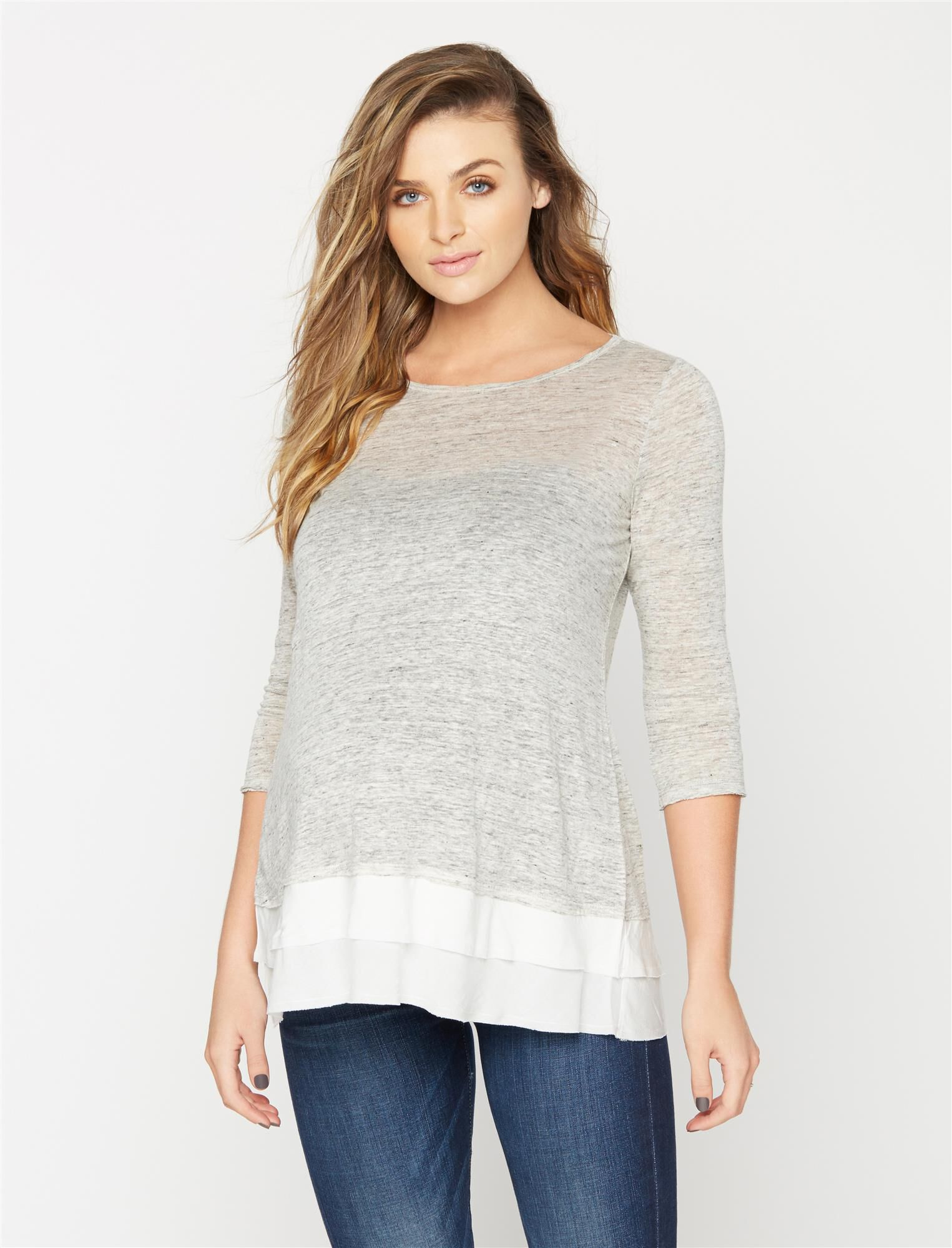 Knit Woven 3/4 Sleeve Maternity Top