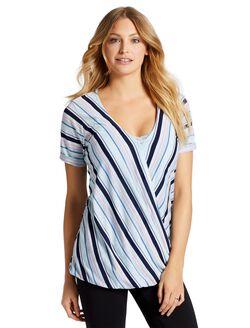 Jessica Simpson Pull Over Wrap Nursing Top, Blue Multi Stripe