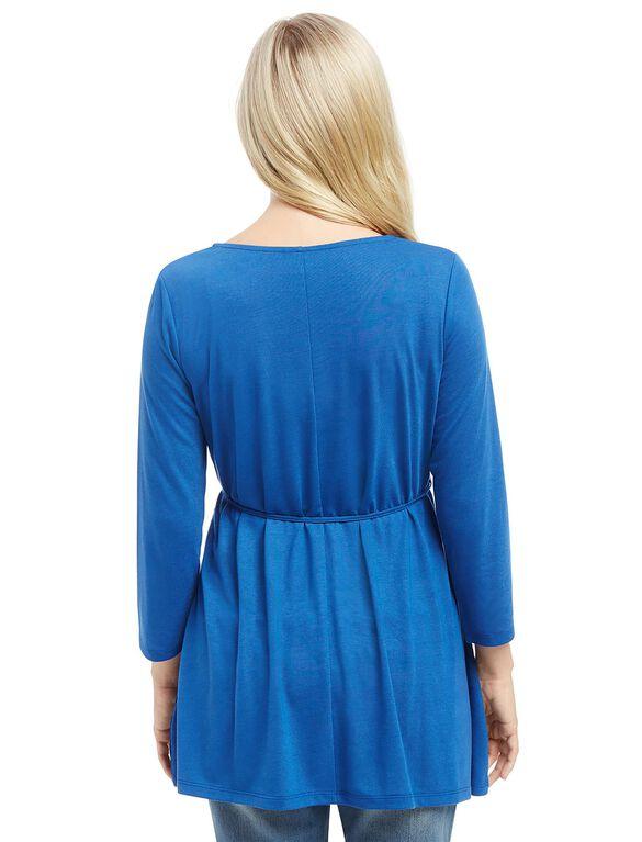 Lace Tie Front Maternity Blouse, Blue
