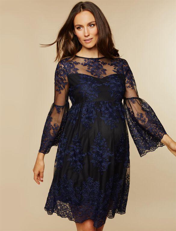 Long Sleeve Lace Maternity Dress, NAVY/BLACK