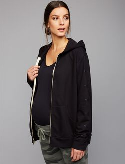 Monrow Star Zip Up Maternity Sweatshirt, Black