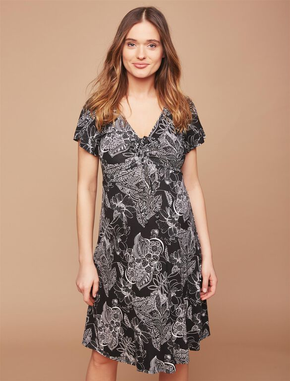 Web Only Flutter Sleeve Maternity Dress, Black/White Print