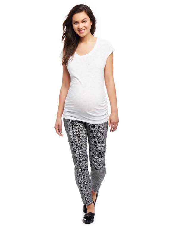 Secret Fit Belly Skinny Ankle Maternity Pants- Print, Black/White Geo