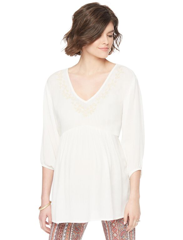 Smocked Embroidered Maternity Blouse, Cloud Dancer