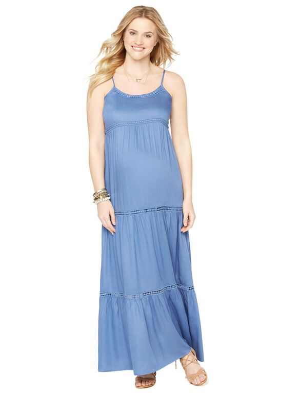 Spaghetti Strap Tiered Maternity Maxi Dress, Blue
