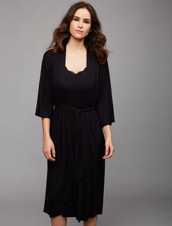 Rib Knit Maternity Robe, Black