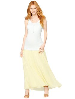 Secret Fit Belly Chiffon Maternity Maxi Skirt, Yellow