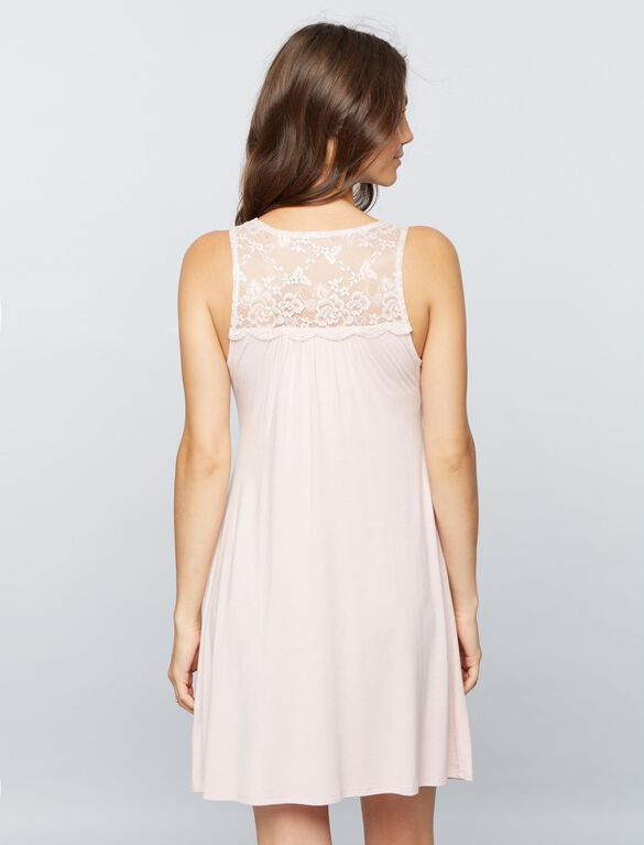 Lace Detail Nursing Nightgown- Pink Blush, Pink Blush