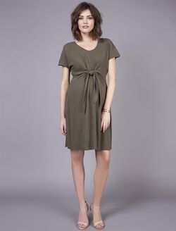 Seraphine Tie Front Maternity Dress, Olive