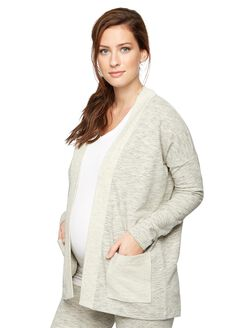 Patch Pocket Maternity Cardigan, Gray
