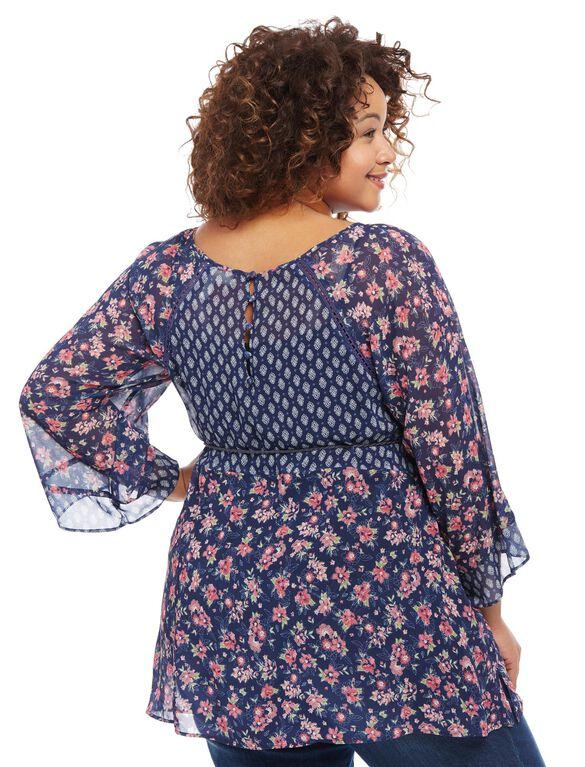 Jessica Simpson Plus Size Hanky Hem Blouse, Floral Print