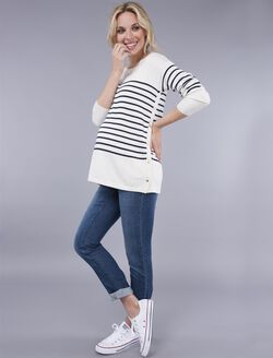 Seraphine Pull Down Nursing Top, Ivory/Navy Stripe