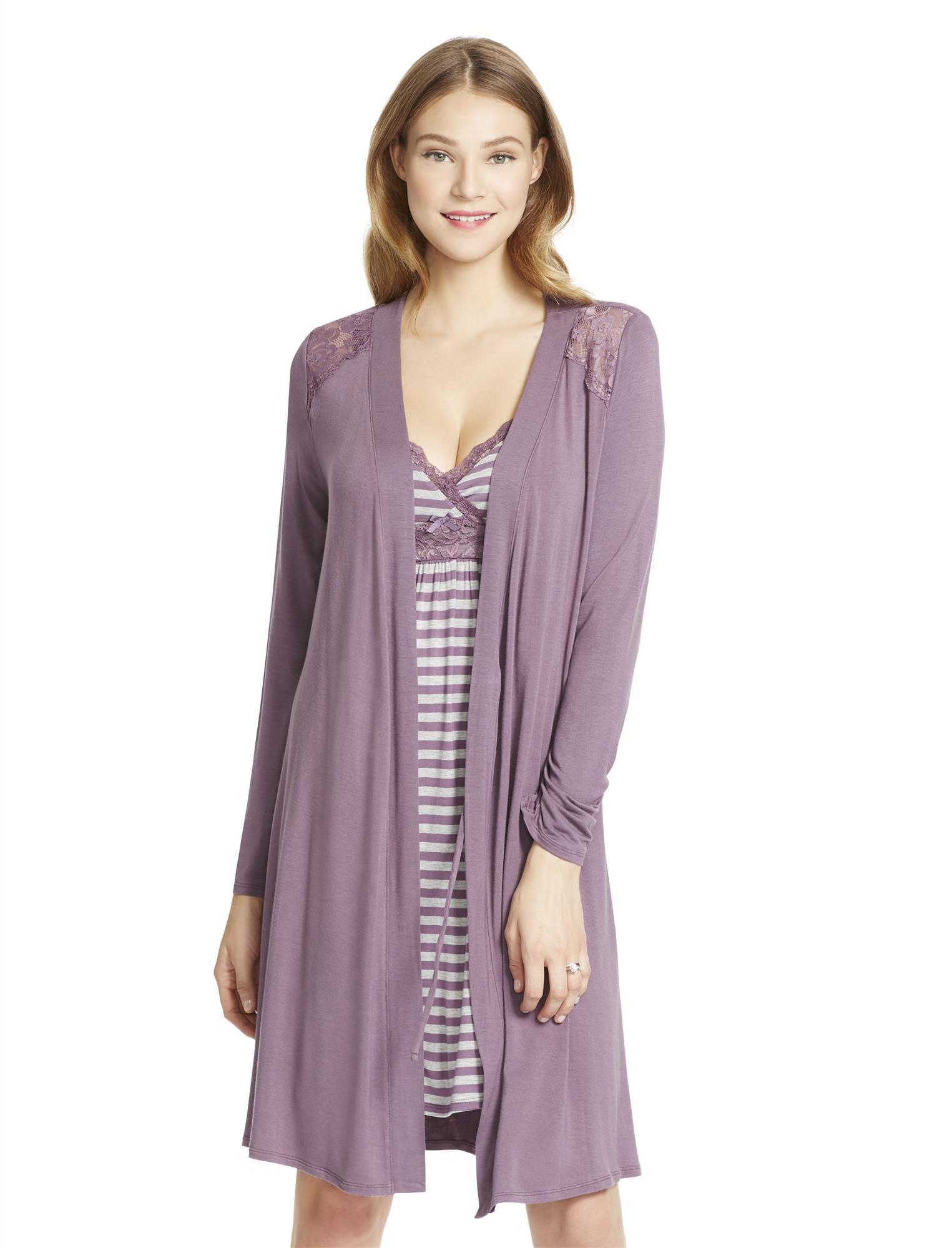 Jessica Simpson Lace Trim Maternity Robe- Pink