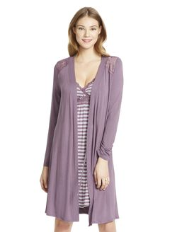 Jessica Simpson Lace Trim Maternity Robe- Pink, Plum