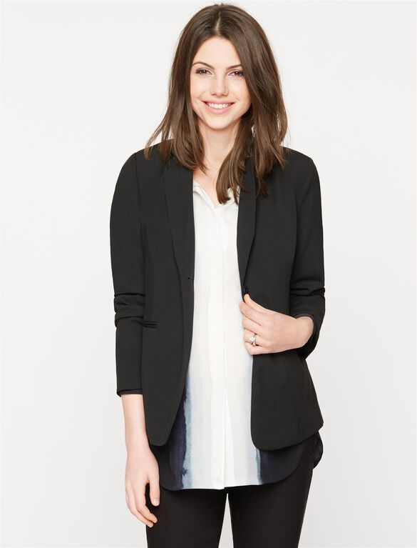 Bi-stretch Suiting Maternity Blazer, Black
