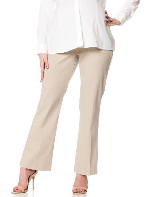 Petite Secret Fit Belly Twill Boot Cut Maternity Pants, Stone