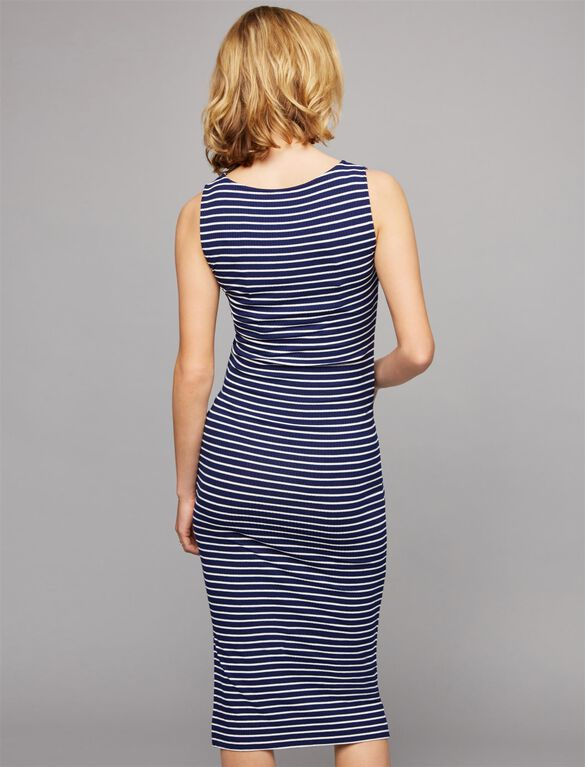 Isabella Oliver Ruched Maternity Dress, Blue/White Stripe