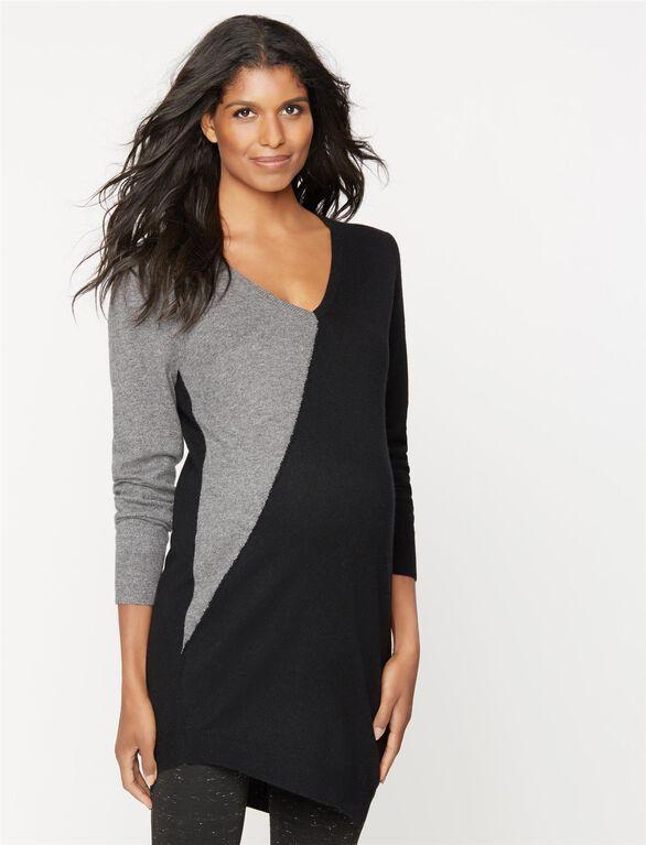 360 Cashmere Colorblock Maternity Sweater, Black/Graphite