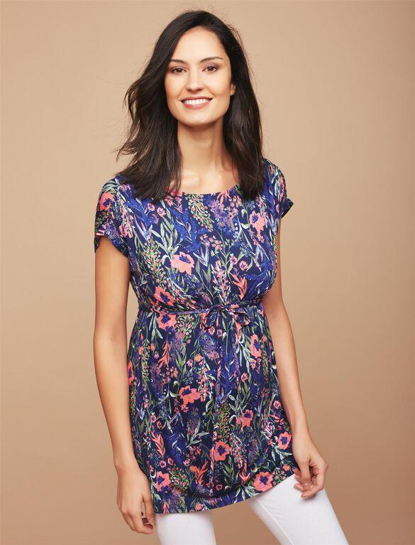 Shirring Detail Maternity Tunic, Floral Print