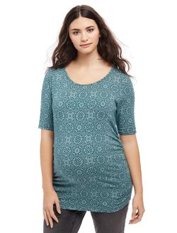 Plus Size Side Ruched Maternity Tee- Teal Print, Teal Print