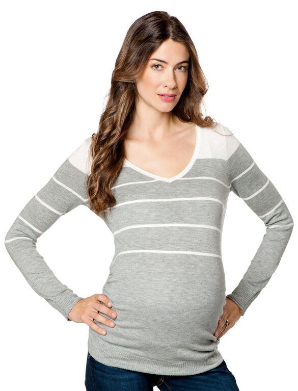 Variegated Stripe Maternity Sweater, Medium Heather Grey