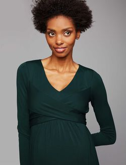 Wrap Front Maternity Dress, Mountain Pine