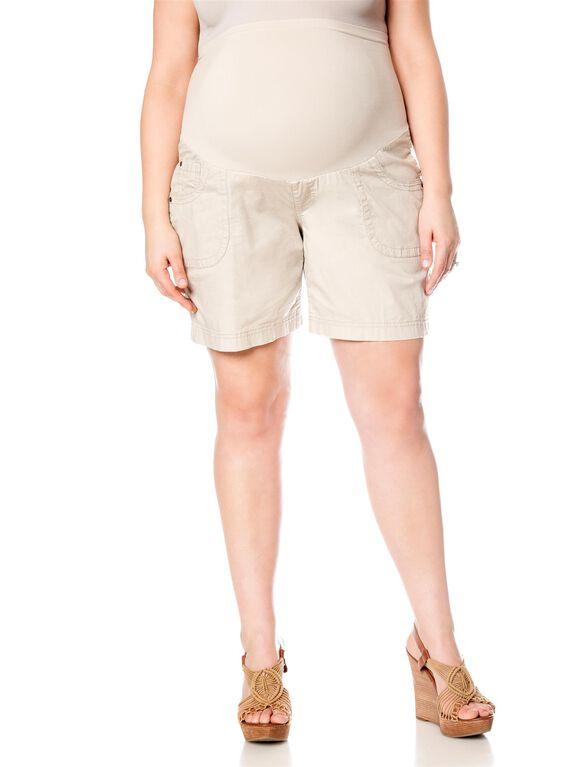 Plus Size Secret Fit Belly Roll Hem Maternity Shorts, Khaki