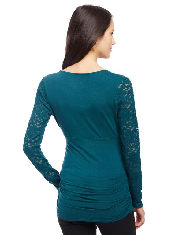 Lace Sleeve V-Neck Maternity Top, Deep Teal