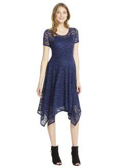 Jessica Simpson Lace Hanky Hem Maternity Dress- Navy, Bright Navy