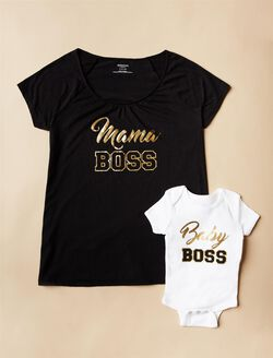 Mama Boss Nursing Tee & Baby Boss Bodysuit, Black