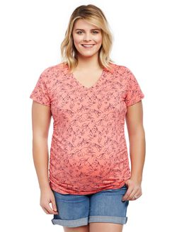 Plus Size Side Ruched Maternity T Shirt, Coral Print