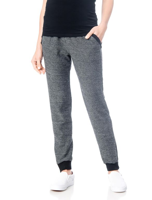 Splendid No Belly Terry Slim Leg Maternity Pants, Black/Grey