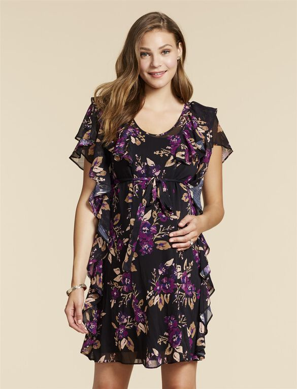 Jessica Simpson Ruffle Front Maternity Dress, Black Floral