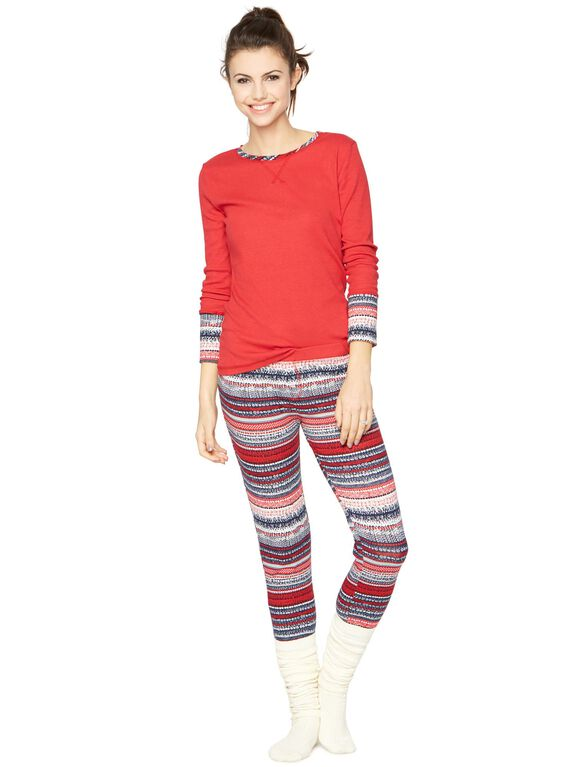 Splendid Cozy 2 Piece Fairisle Maternity Pajama Set, Fair Isle
