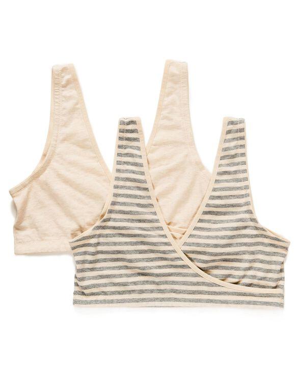 Wrap Nursing Sleep Bra (2 Pack), Heather Oat Combo