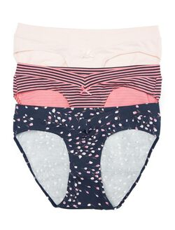 Maternity Hipster Panties (3 Pack)- Pink/Navy Stripe/Floral, Plaid/Navy/Pink