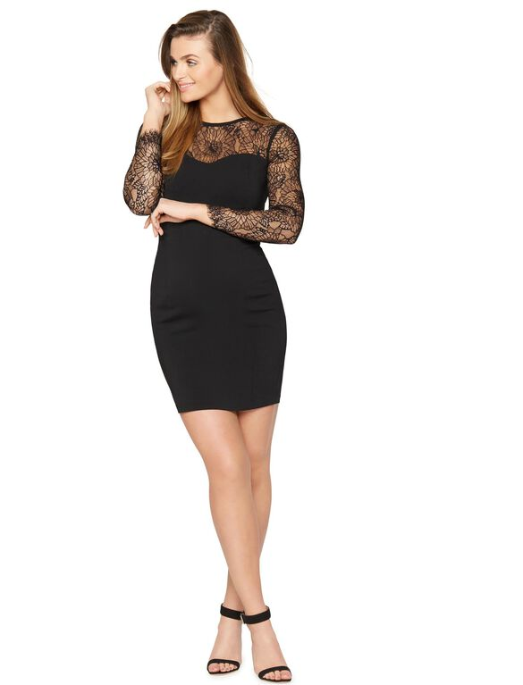 Web Only Lace Trim Maternity Dress, Black