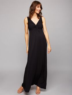 Twist Front Maternity Maxi Dress- Black, Black